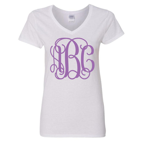 Monogrammed Big Print V-Neck T-Shirt