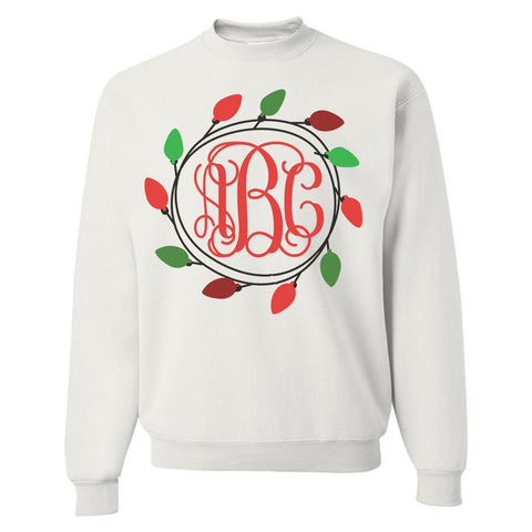 Monogrammed 'Christmas Lights' Crewneck Sweatshirt