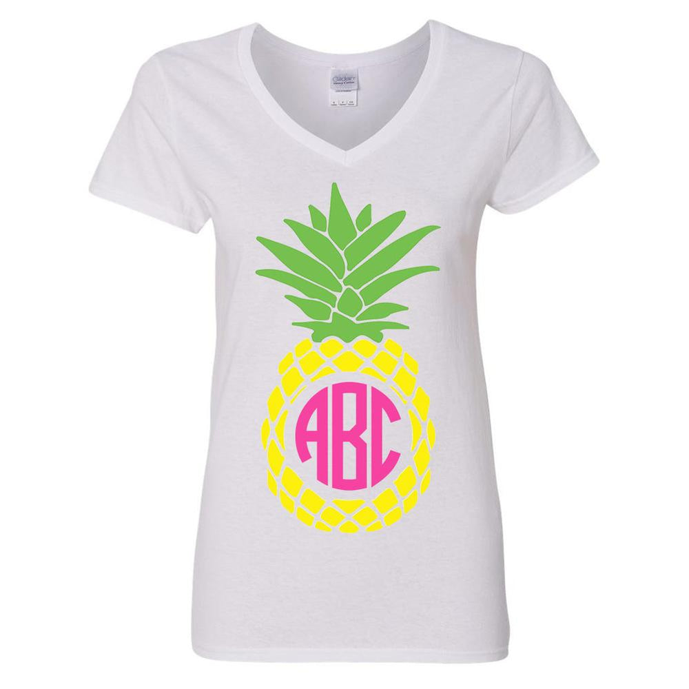 Monogrammed Pineapple V-Neck
