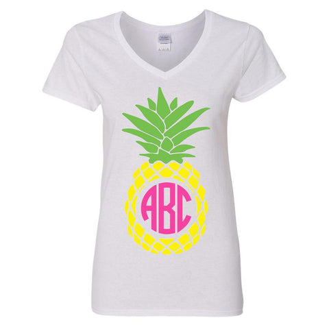 Monogrammed 'Pineapple' V-Neck T-Shirt