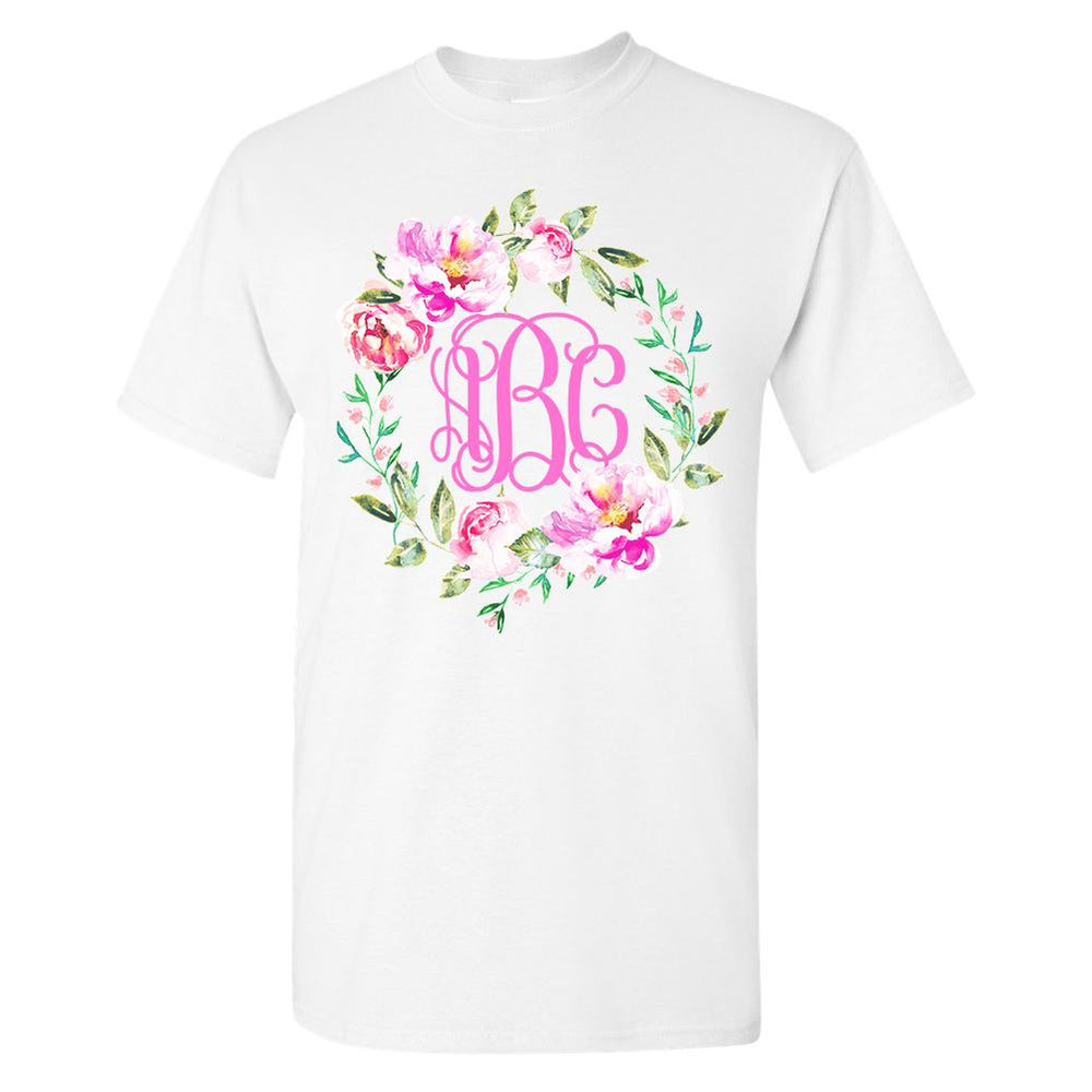 Monogrammed Spring Flowers Wreath T-Shirt