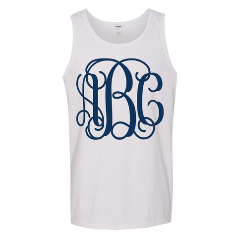 Monogrammed Digital Big Print White Tank Top Navy Vine Monogram Font
