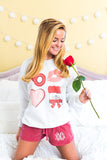 Monogrammed Valentine's Day Lounge Set Sweatshirt & Shorts