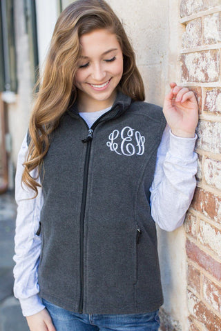 United Monograms Monogrammed Soft Fleece Zip Up Vest
