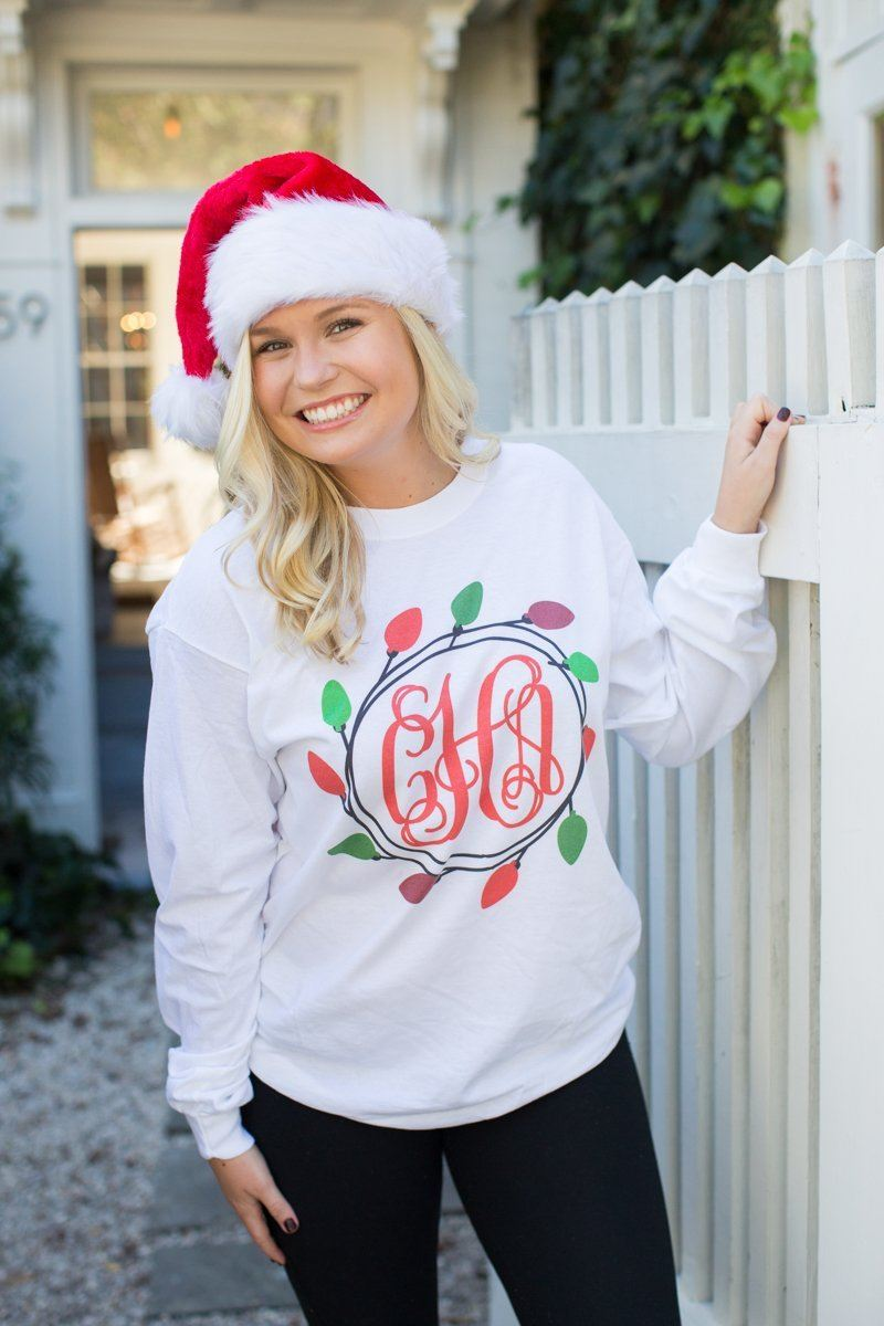 United Monograms Monogrammed Christmas Lights Wreath Long Sleeve Shirt Festive
