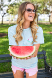 Monogrammed Watermelon Embroidered Tee Madeline Reagor