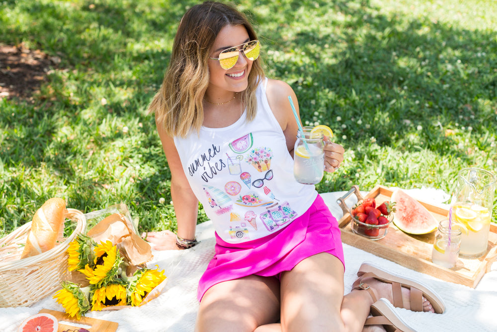 Monogrammed Summer Vibes Tank Top Ragan Richardson