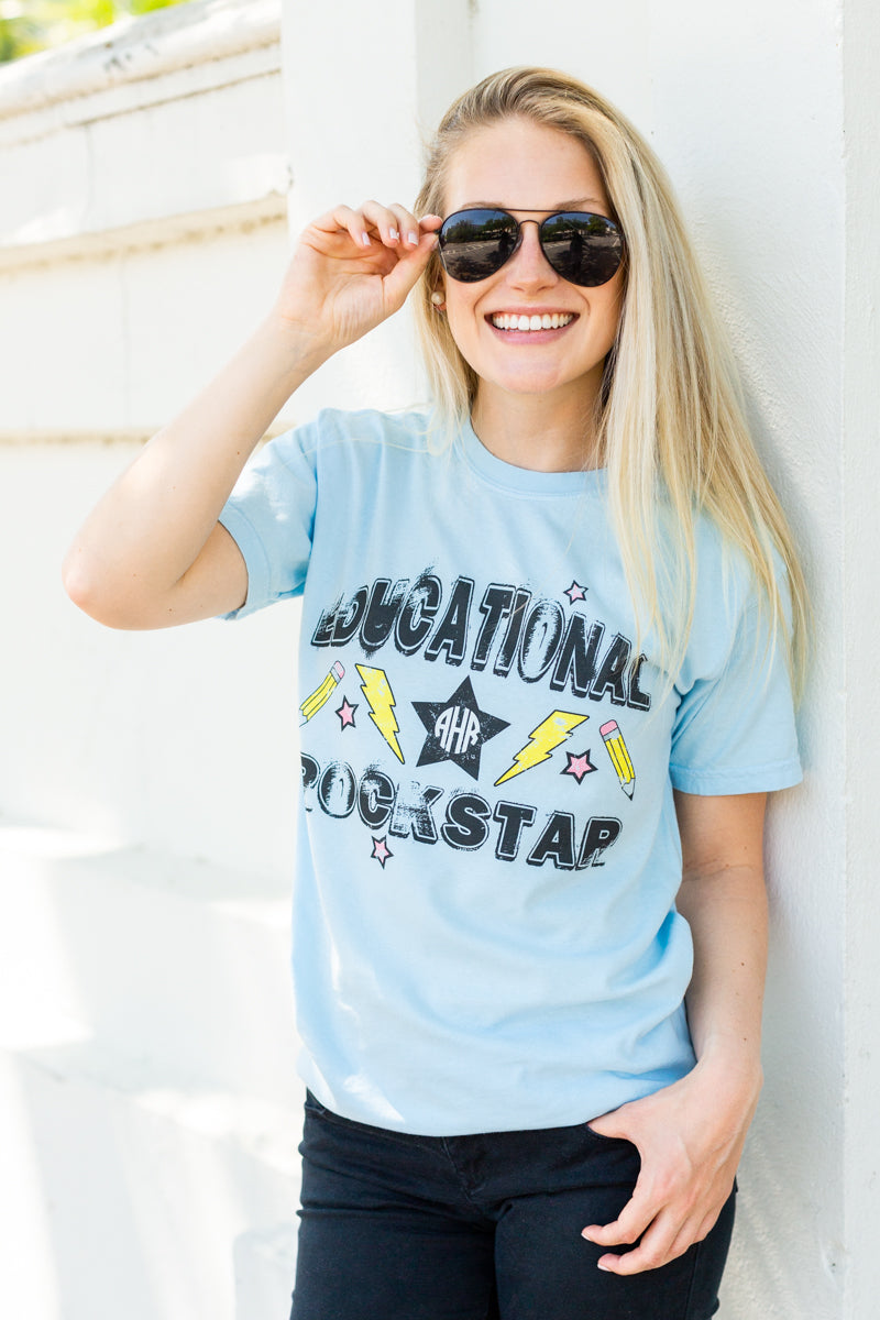 Monogrammed Educational Rockstar Band Tee Teacher
