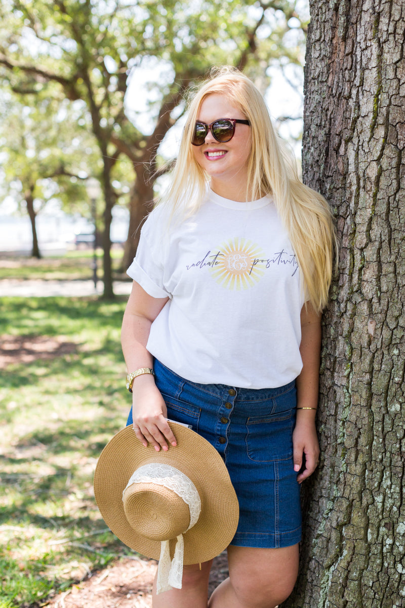 Monogrammed Radiate Positivity T-Shirt Lauren Ellis