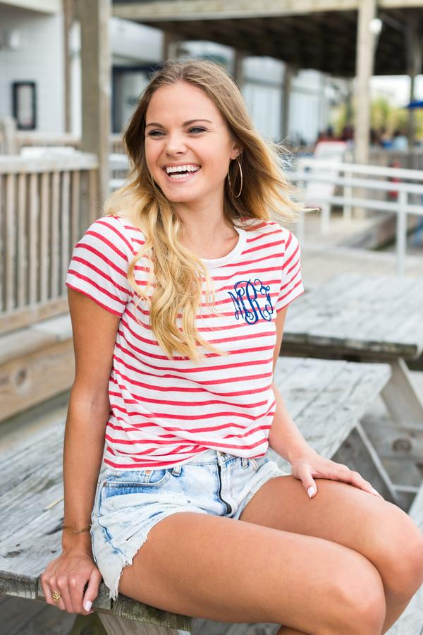 United Monograms Models in red striped tee
