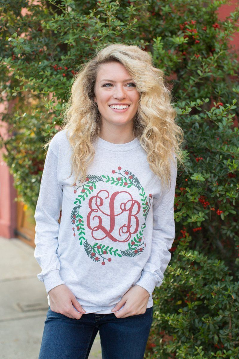Monogrammed 'Holly Wreath' Long Sleeve T-Shirt