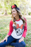 Monogrammed Minnie/Mickey Mouse Disney Raglan Baseball Tee