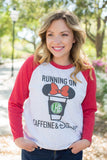 Monogrammed Running On Caffeine & Disney Raglan Baseball Tee