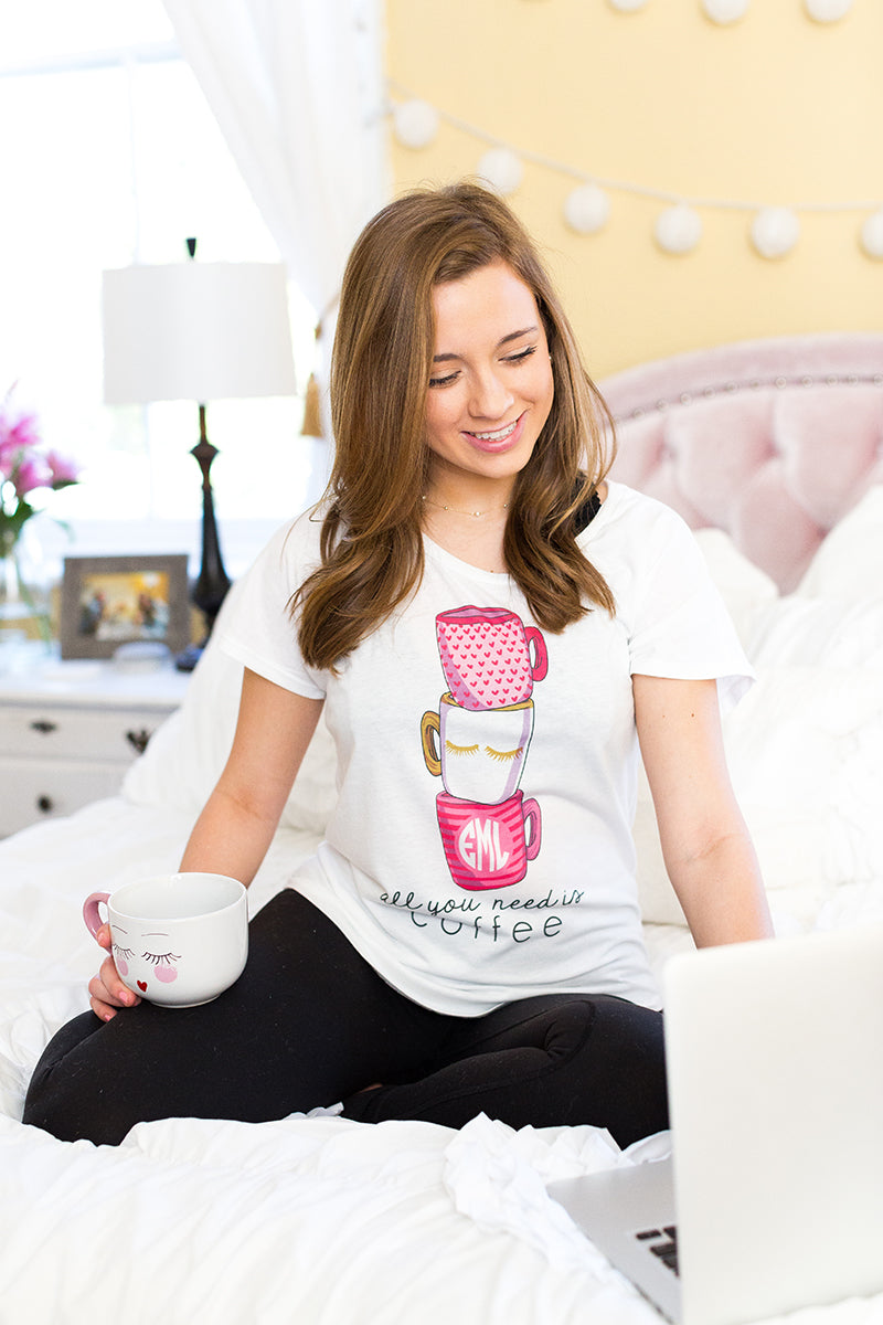 Monogrammed 'All You Need Is Coffee' Flowy Tee