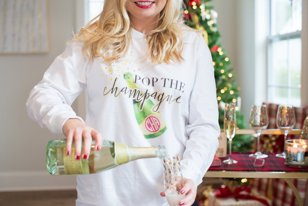 Monogrammed Pop the Champagne Premium Long Sleeve Shirt Holidays New Year's Eve Party