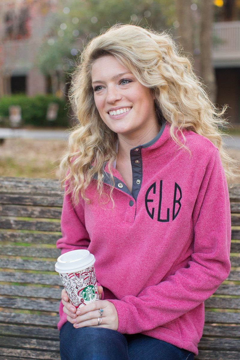 Monogrammed quarter button down sweatshirt
