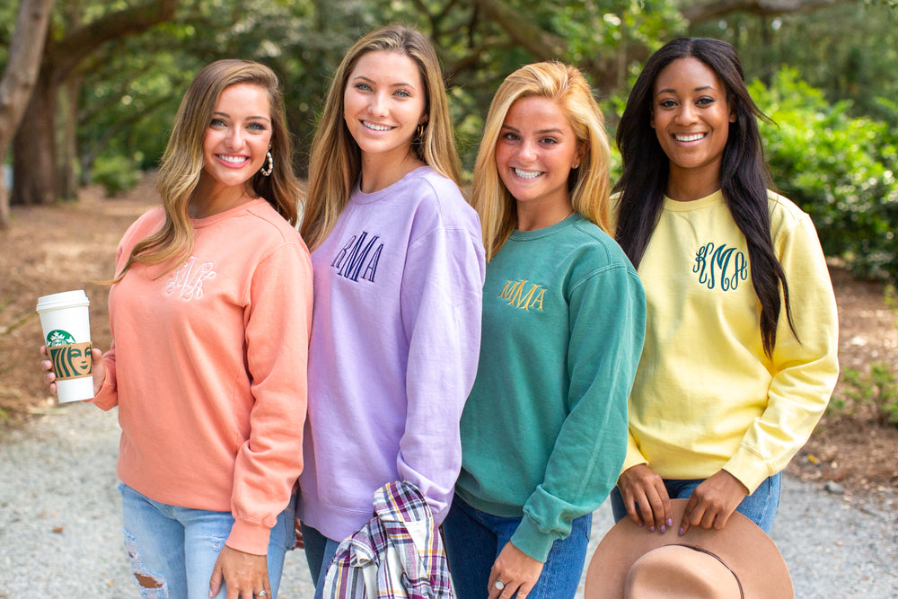 Monogrammed Comfort Colors Crewneck Sweatshirt - NEW COLORS!