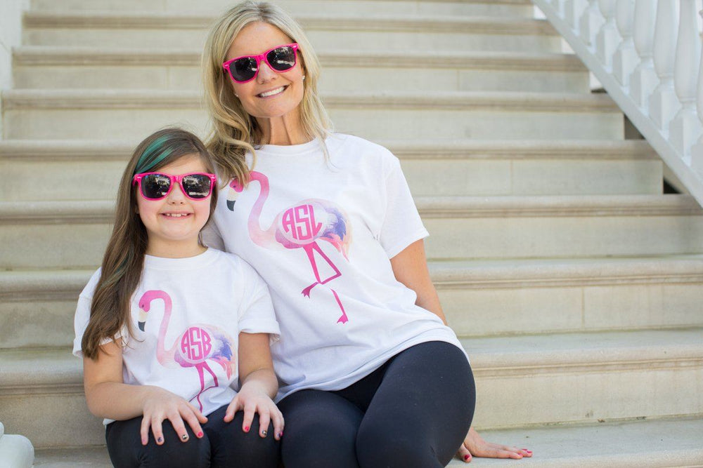 Monogrammed Mommy & Me Package Flamingo T-Shirts