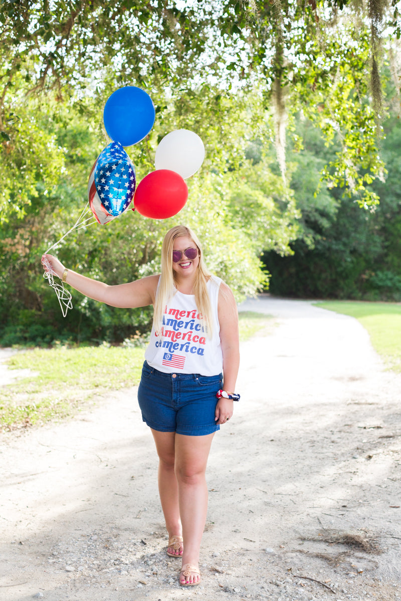 Monogrammed America Fourth of July Tank Top Lauren Ellis