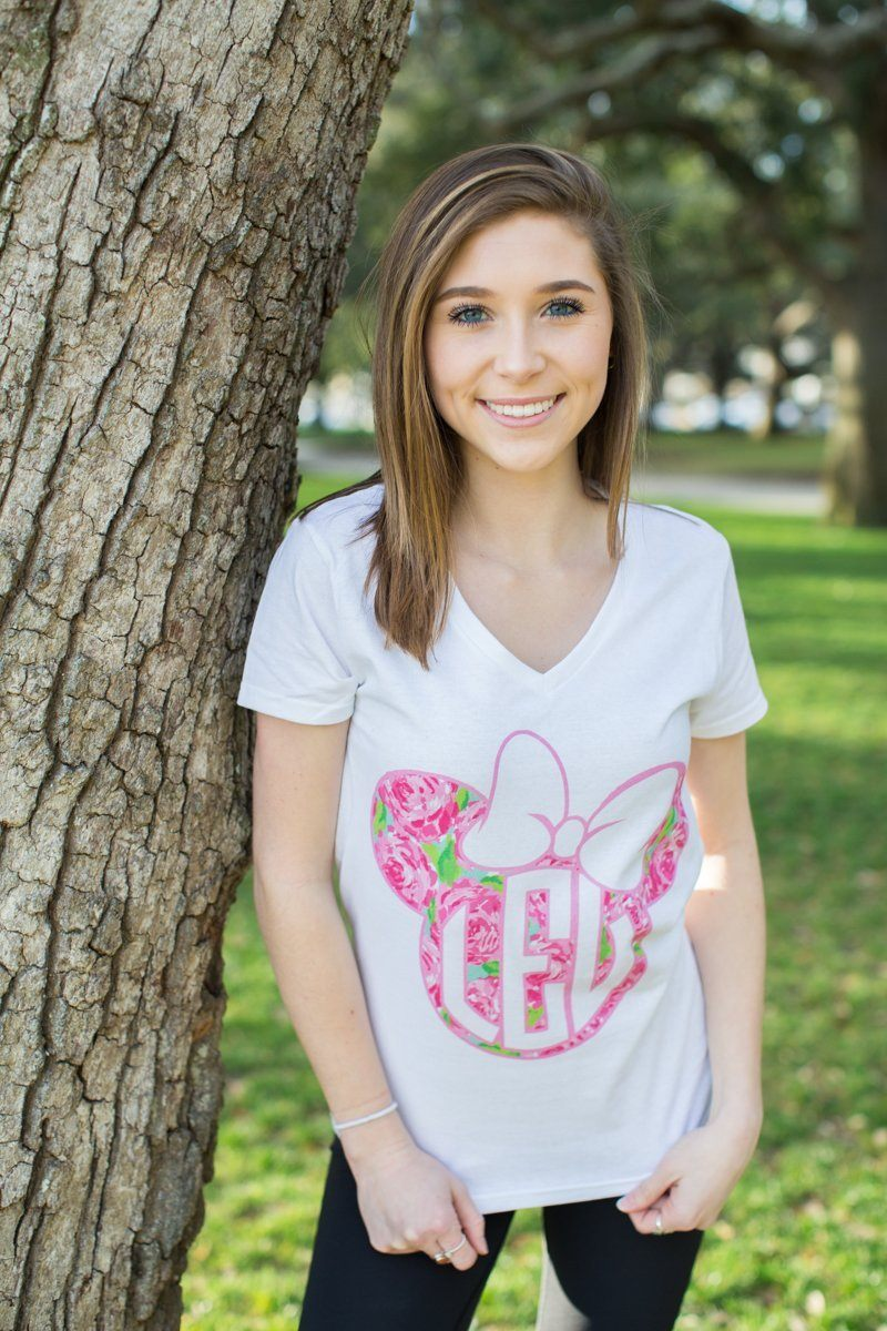 Monogrammed Lilly Pulitzer Minnie Mouse Disney V-Neck T-Shirt Lauren Espy