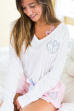 Monogrammed Flowy V-Neck Long Sleeve