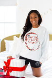 Monogrammed Plaid Santa Christmas Pajama Lounge Set