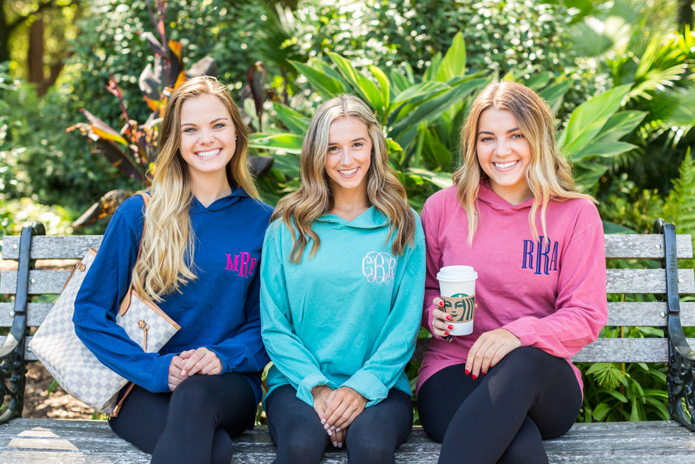 Monogrammed Comfort Colors Long Sleeve Hooded Shirt