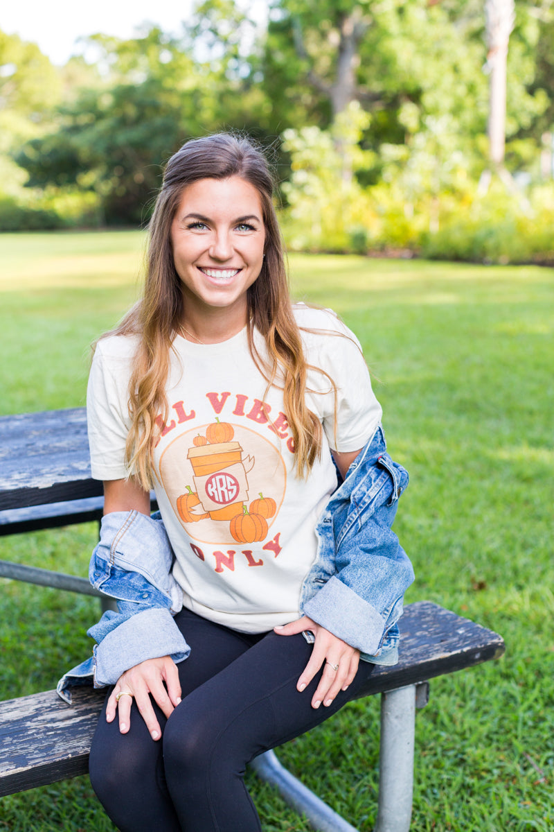 Monogrammed Fall Vibes Only Tee