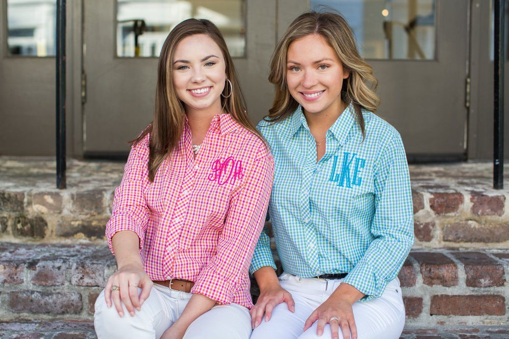 Monogrammed Gingham Button-Up Button Down Blouse Shirt Work Office Attire