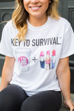 Monogrammed Key To Survival Makeup & Coffee T-Shirt