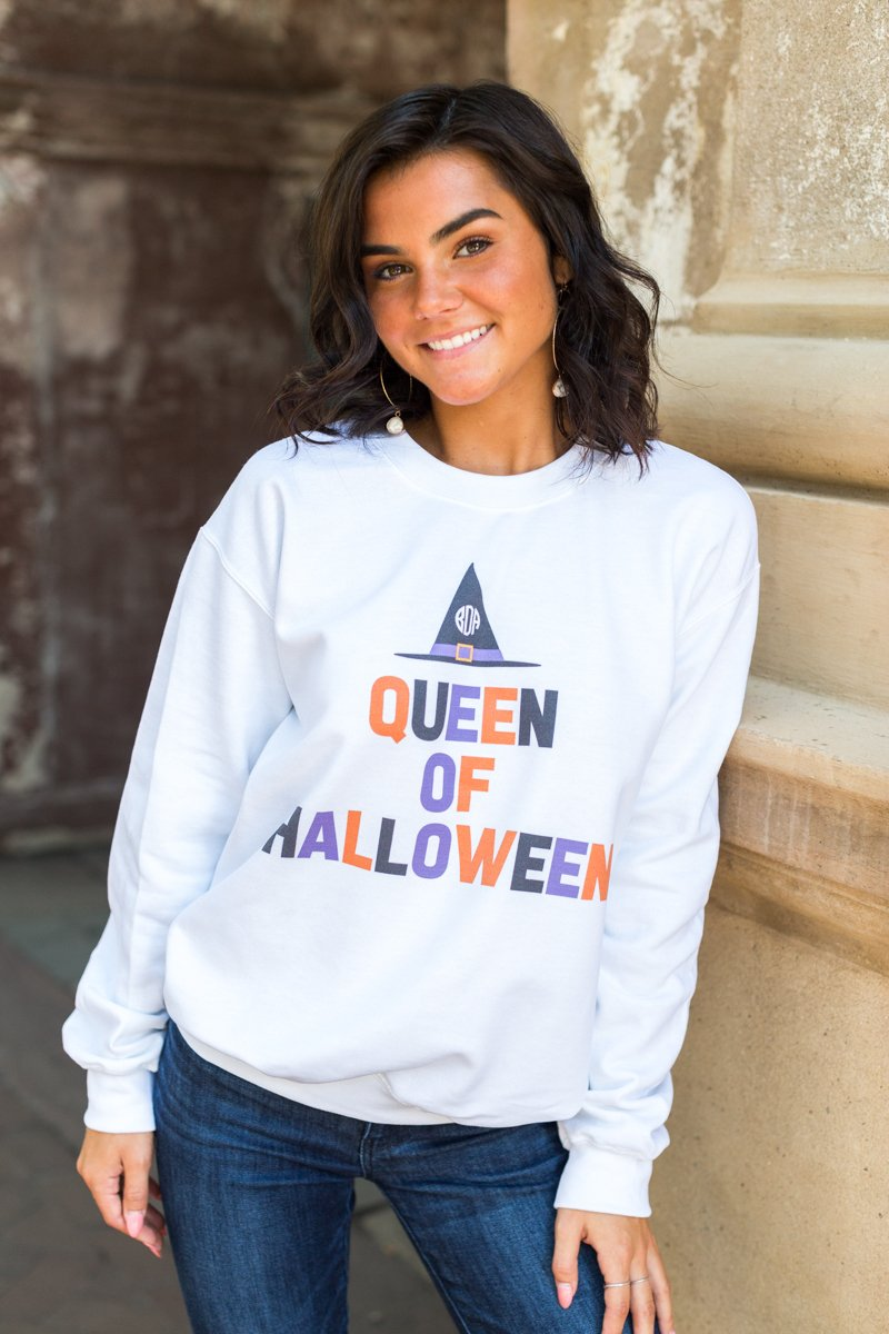 Monogrammed Queen Of Halloween Crewneck Sweatshirt