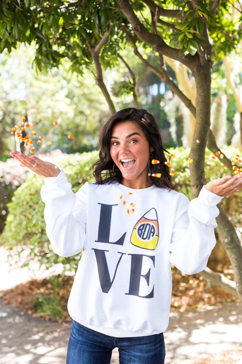 Monogrammed Candy Corn Love Sweatshirt Halloween