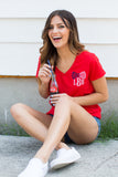 Monogrammed Patriotic Bow V-Neck T-Shirt Fourth of July