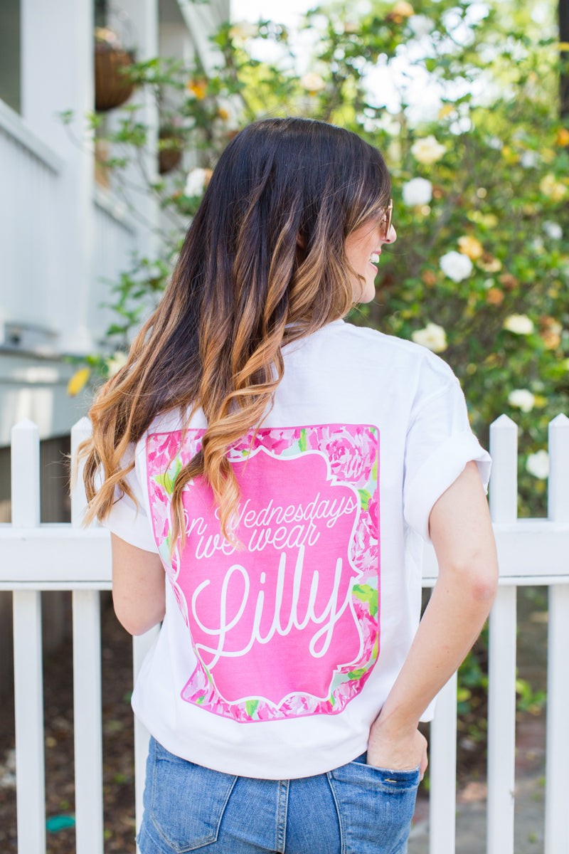 Monogrammed On Wednesdays We Wear Lilly Pulitzer Front & Back Comfort Colors T-Shirt