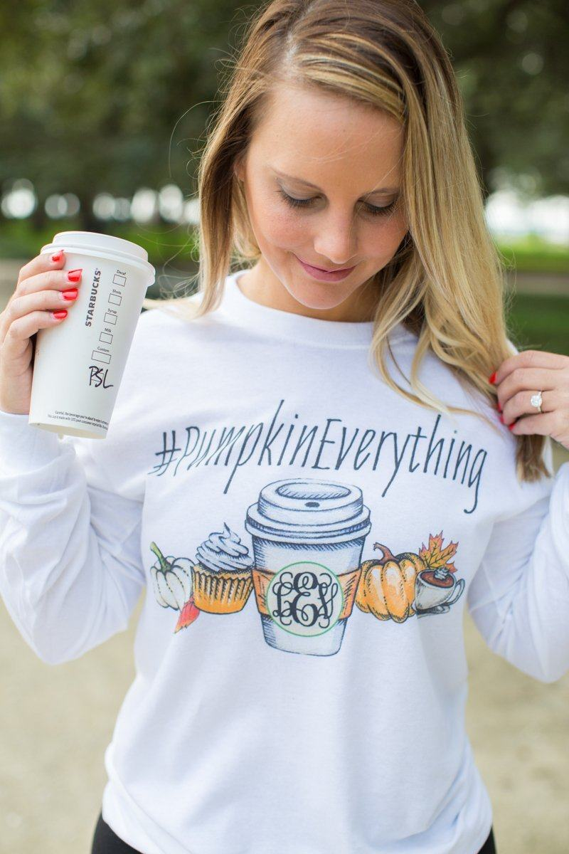 Monogrammed '#PumpkinEverything' Long Sleeve T-Shirt