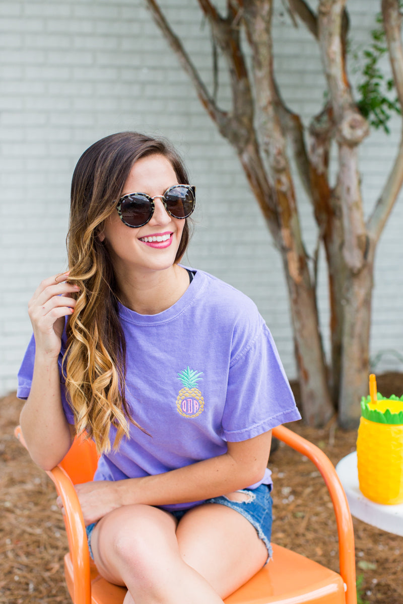 Monogrammed Pineapple Comfort Colors T-Shirt