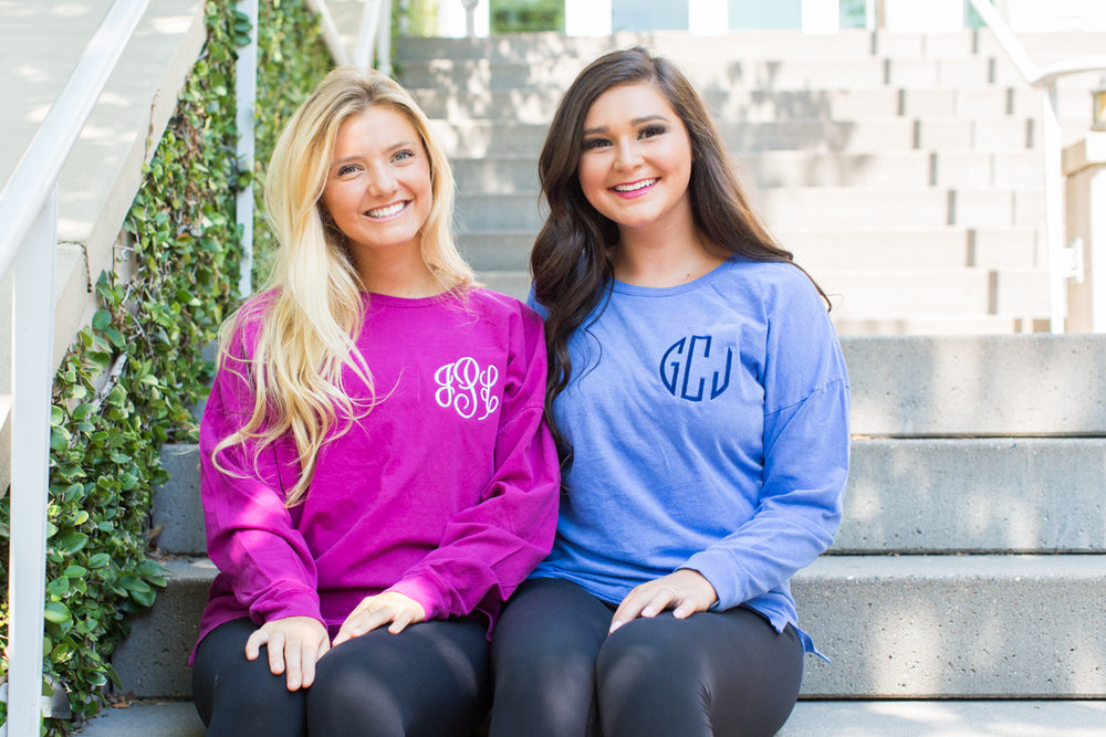 Monogrammed Comfort Colors Oversized Long Sleeve Shirt