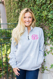 Monogrammed Charles River Quarter Zip Sweatshirt with Pockets