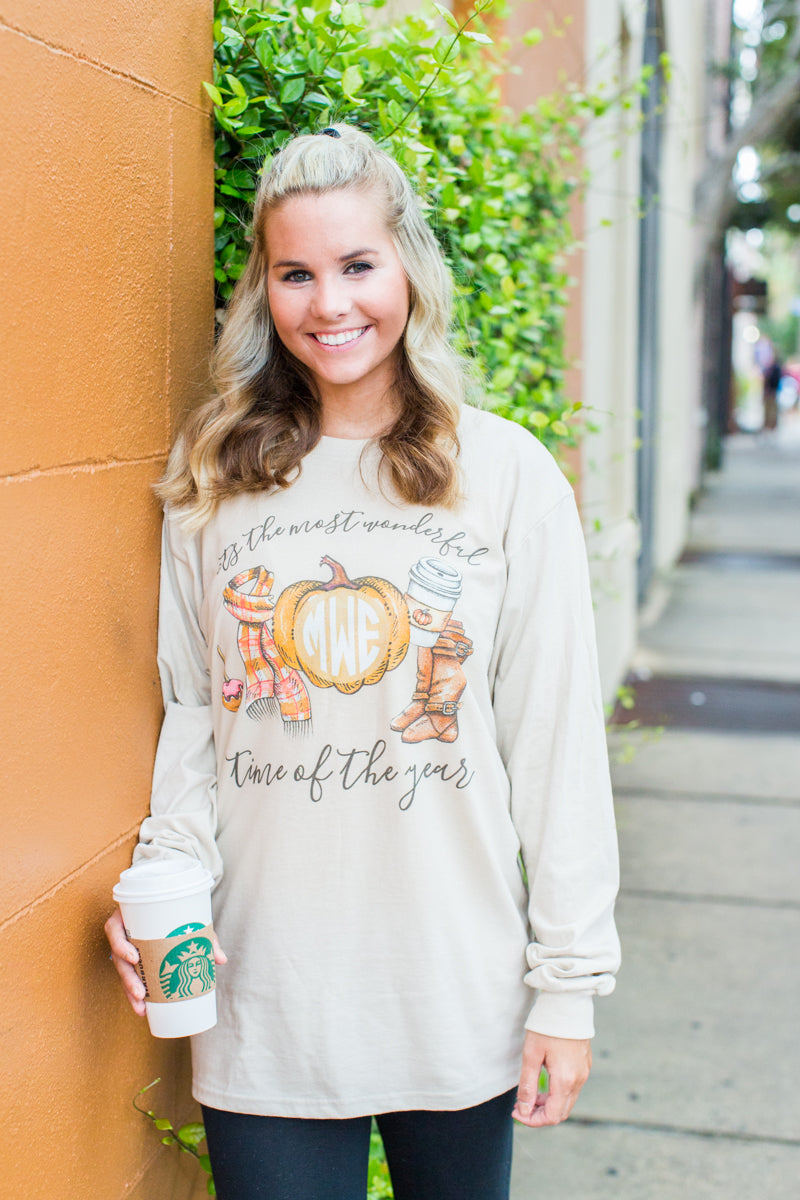 Monogrammed Fall Most Wonderful Time of the Year Long Sleeve Shirt