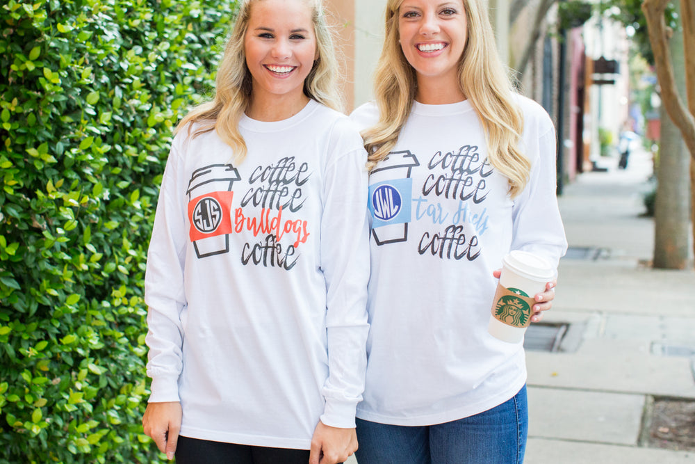 Monogrammed Customized Coffee Coffee School Mascot College Coffee Long Sleeve T-Shirt SEC