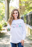 Monogrammed Coffee Lover Drinks Long Sleeve Shirt- United Monogram Coffee Graphic Monogram
