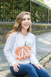 Monogrammed Pattern Pumpkin Long Sleeve Shirt