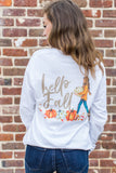 Choose your Hair Color! Monogrammed Hello Fall Pumpkin Front & Back Long Sleeve Shirt