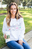 Monogrammed Coffee Lover Drinks Crewneck Sweatshirt- C Baston