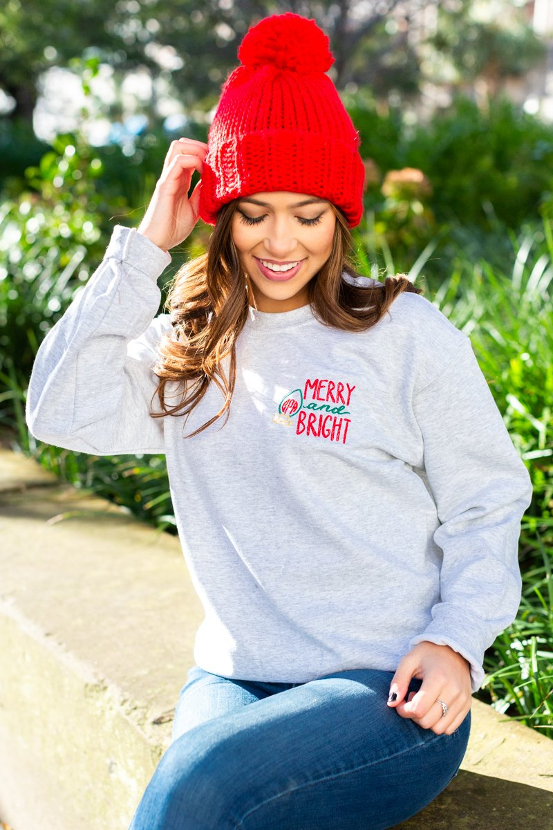 Monogrammed Merry & Bright Christmas Holiday Sweatshirt