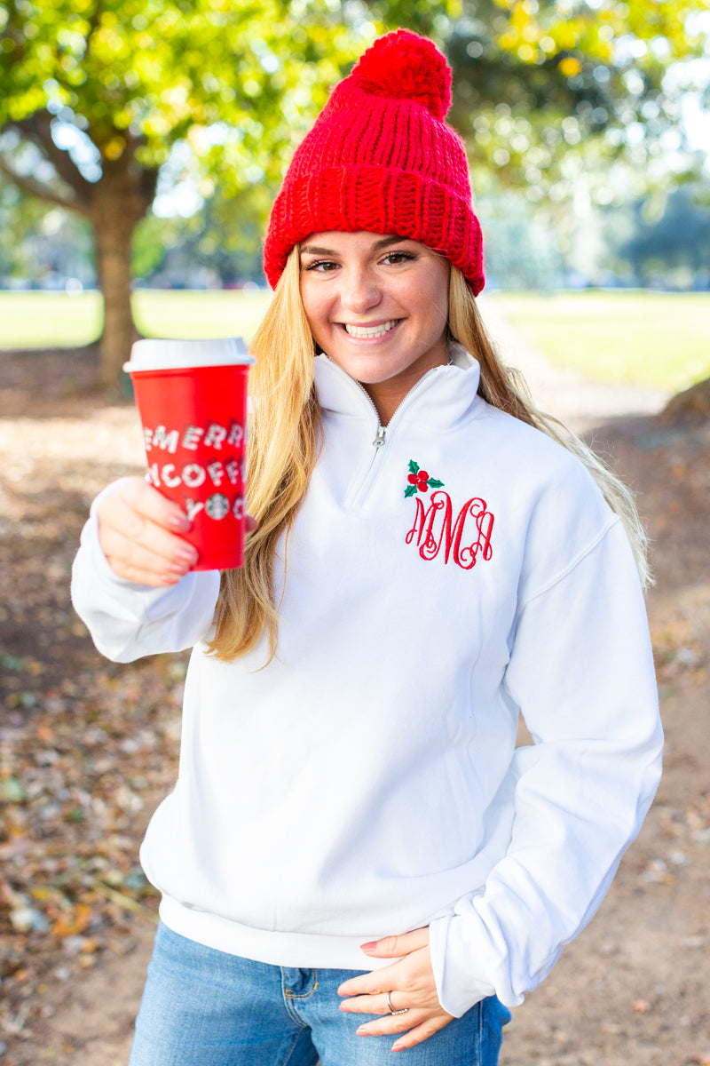 Monogrammed Holly Quarter Zip Pullover Christmas Holidays