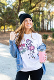 Monogrammed Merry & Bright Flamingo Christmas Long Sleeve Shirt