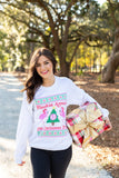 Monogrammed Flamingo Ugly Christmas Sweater Flockin Around The Christmas Tree Sweatshirt