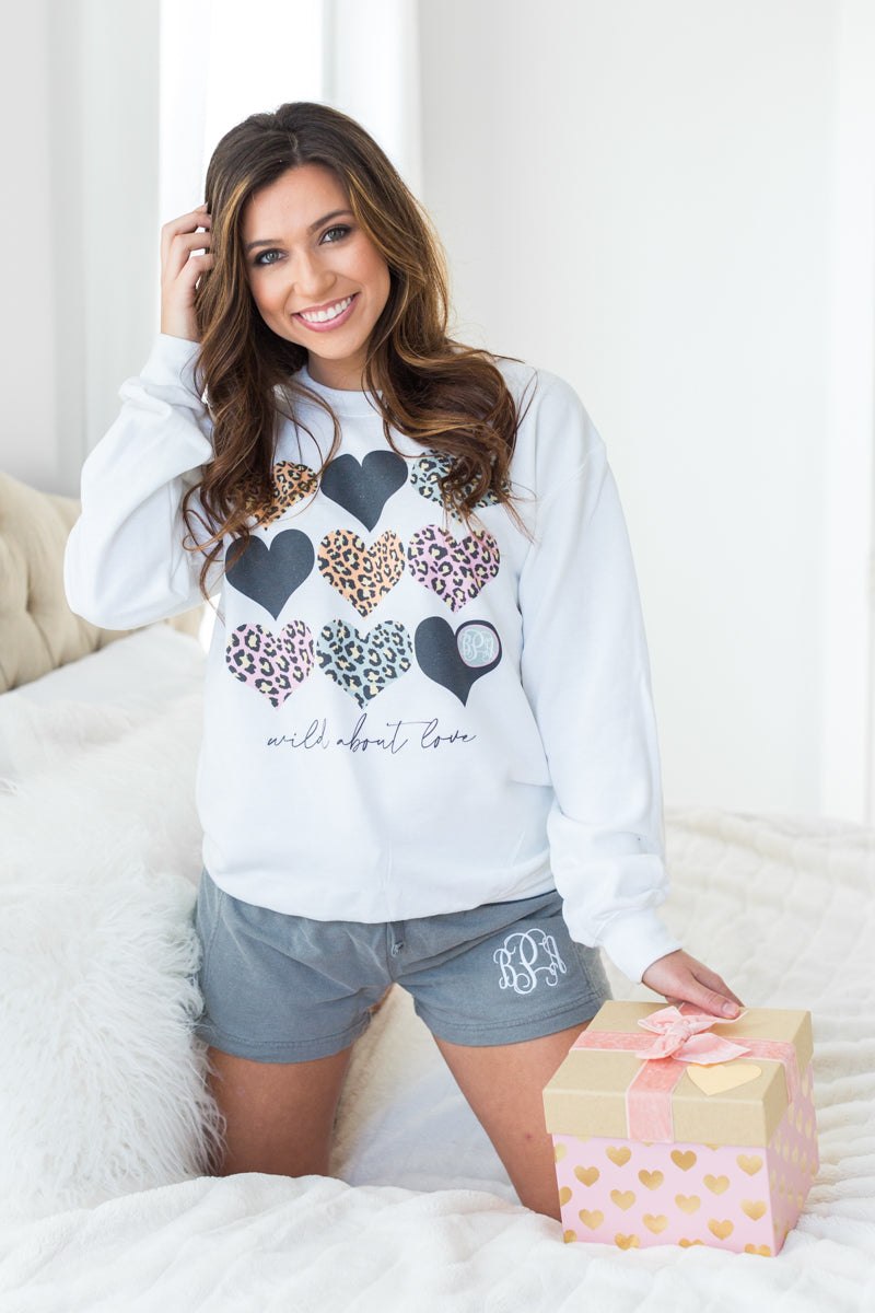Monogrammed Wild About Love Leopard Valentine's Day Lounge Set