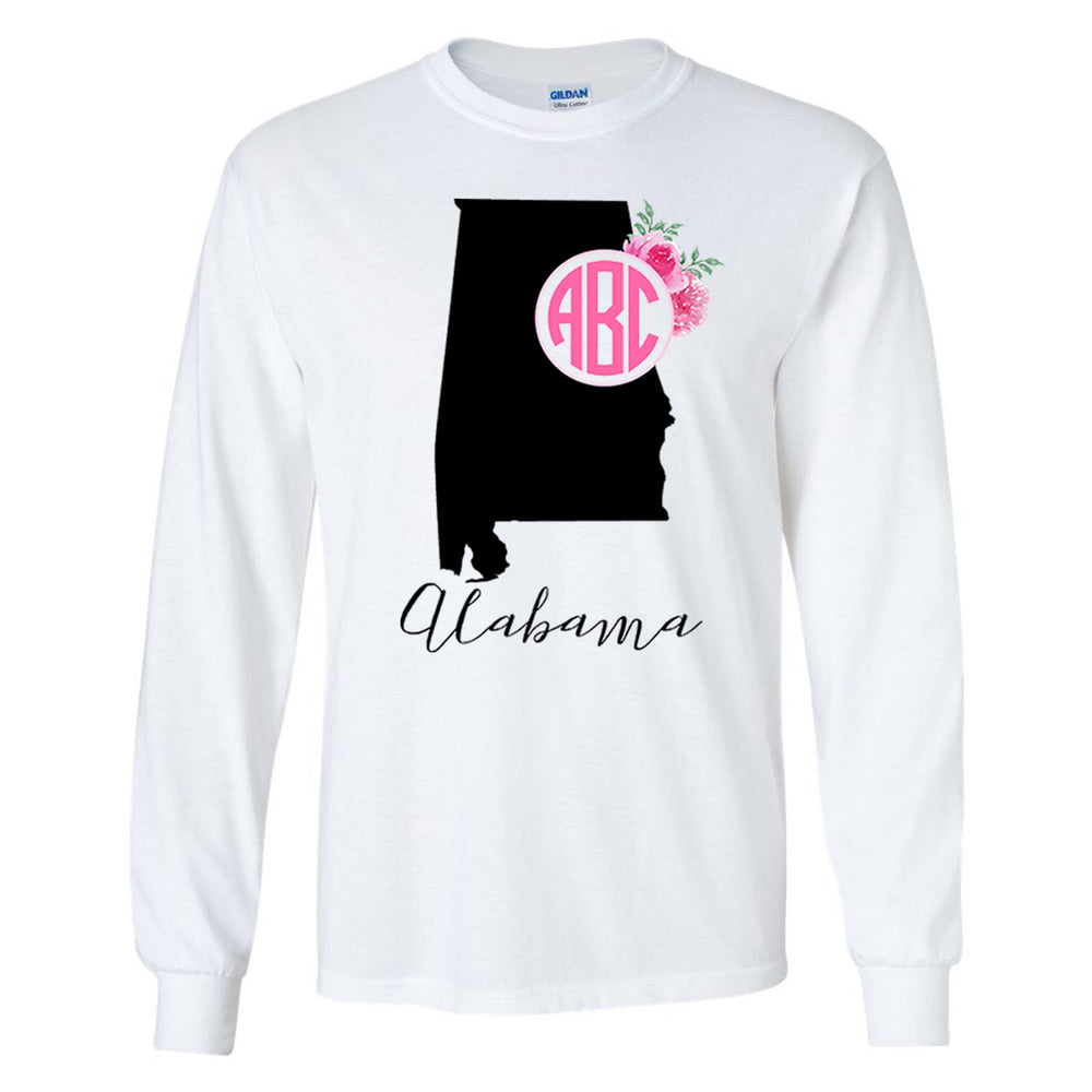 Monogrammed 'Alabama State Pride' Long Sleeve T-Shirt